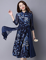 Women's Holiday Swing Dress,Solid V Neck Midi Long Sleeve Polyester Summer Low Rise Inelastic Thin