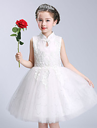 Ball Gown Short / Mini Flower Girl Dress - Cotton Satin Tulle High Neck with Appliques Bow(s) Sequins