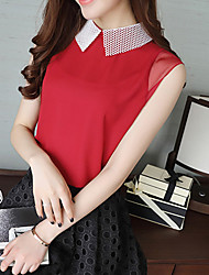 Women's Casual/Daily Simple Boho Summer Fall Blouse,Solid Shirt Collar Sleeveless Silk Cotton Opaque