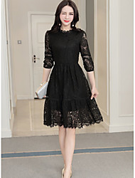 White lace dress long section of the Spring and Autumn long sleeve bottoming skirt cents 2017 spring new women's tide