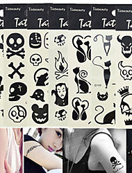 1pcs Hot Sale Fashion Tattoo Sticker Lovely Halloween Skull Cute Cat Colorful Design 3D Black Tattoo Stickers For Beauty Art Decoration Q101-110
