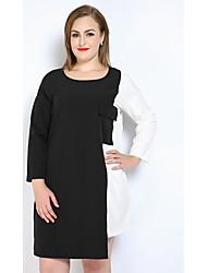Feminino Camiseta Túnicas Preto e Branco Vestido,Casual Férias Tamanhos Grandes Sensual Simples Fofo Estampa Colorida RetalhosDecote