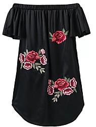 Tunique Robe Femme Décontracté / Quotidien simple,Fleur Broderie Bateau Mini Manches Courtes Coton Eté Taille Normale Elastique Moyen