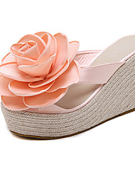 Women's Sandals Summer Flower Girl Shoes PU Dress Wedge Heel Flower