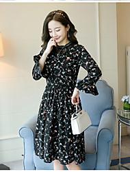 Women's Holiday Sheath Dress,Solid V Neck Midi Long Sleeve Polyester Summer Low Rise Inelastic Medium