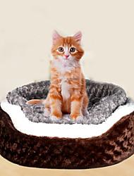 Кошка Собака Кровати Животные Коврики и подушки Однотонный Мягкий Кофейный