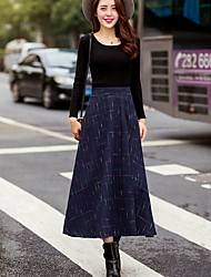 A Line Striped Skirts,Casual/Daily Simple Low Rise Midi Elasticity Others Micro-elastic Winter