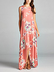 Women's Floral Patterns Going out Casual/Daily Club Sexy Vintage Street chic Loose Slim Grace Dress Round Neck Maxi Asymmetrical Sleeveless Spring