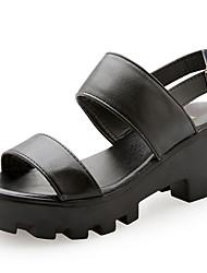 Women's Sandals Gladiator PU Spring Summer Casual Dress Gladiator Magic Tape Chunky Heel White Black 3in-3 3/4in