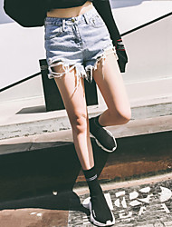 Women's High Waist Micro-elastic Jeans Shorts Pants Street chic /Casual Loose Straight Ripped Tassel Solid