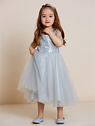 A-line Tea-length Flower Girl Dress - Tulle Sequined Straps with Draping Sequins