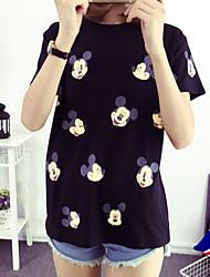 Damen Tierfell-Druck Einfach Lässig/Alltäglich T-shirt,Rundhalsausschnitt Kurzarm Baumwolle