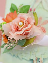 Fleurs de mariage Noué à la main Roses Petit bouquet de fleurs au poignet Cérémonie de mariage La Fête / soirée Soirée / CocktailSatin