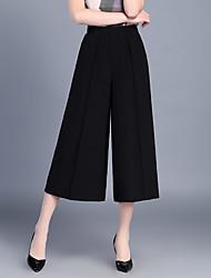 Для женщин Мода Чино Брюки,С высокой талией Широкие Плиссировка Шифон Однотонный