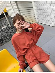 Damen einfarbig Sexy Niedlich Ausgehen Party/Cocktail T-Shirt-Ärmel Rock Anzüge Lange Ärmel