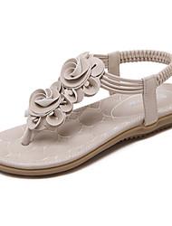 Damen-Sandalen-Lässig-PU-Flacher Absatz-Fersenriemen-