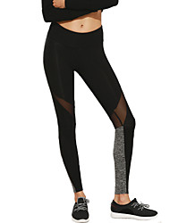 Women's Mid Rise Stretchy Sweatpants Pants,Slim Mesh Patchwork Color Block