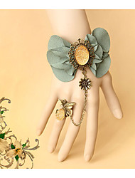Women's Girls´ Bangles Ring Bracelet Natural Friendship Gothic Handmade Alloy Flower Leaf Green Jewelry ForWedding Party Special Occasion