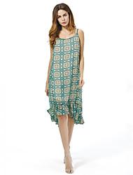 Women's Plus Size Vintage Loose Chiffon Dress,Print Strap Knee-length Sleeveless Cotton Polyester Summer Fall Mid Rise Micro-elastic