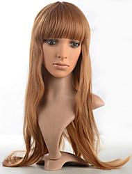 Kinky Straight Wig Synthetic Fiber Wig Long Brown Color Costume Wig For Women