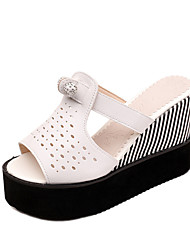 Women's Sandals Comfort Club Shoes Patent Leather Spring Summer Dress Casual Rhinestone Wedge Heel White Black 4in-4 3/4in