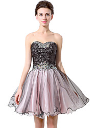 Cocktail Party Prom Dress - Sparkle & Shine Ball Gown Sweetheart Short / Mini Chiffon with Sequins