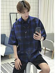 Men's Casual/Daily Simple Shirt,Check Shirt Collar Short Sleeve Cotton