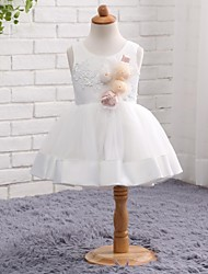 A-line Knee-length Flower Girl Dress - Tulle Satin Chiffon Jewel with Flower(s) Cascading Ruffles Pleats