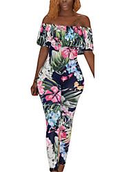 Women's High Rise JumpsuitsSexy Slim Vintage Fashion Fashion Boho Skinny Backless Ruffle Floral
