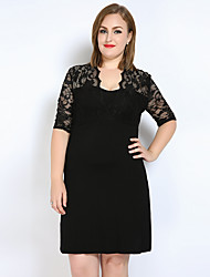 Really Love Women's Plus Size Casual/Daily Club Sexy Simple Cute Lace T Shirt Tunic Dress,Solid V Neck Above Knee Short Sleeve Modal Spring SummerMid
