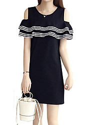 Women's Going out Holiday Simple Loose Dress,Striped Round Neck Above Knee Short Sleeve Polyester Spring Summer Mid Rise Inelastic Medium