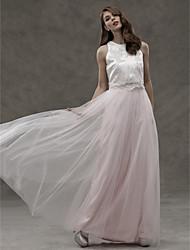 LAN TING BRIDE Floor-length Jewel Bridesmaid Dress - Two Pieces Sleeveless Satin Tulle