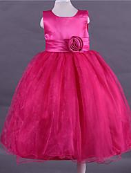 Ball Gown Tea-length Flower Girl Dress - Satin Tulle Scoop with Flower(s)