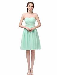 Vestido de festa - curto uma linha-sweetheart curto / mini chiffon com lantejoulas