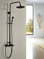 Antique Traditional Country Shower System Rain Shower Handshower Included with  Ceramic Valve Three Handles Two Holes for  Oil-rubbed shower Faucets