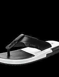 Herren-Slippers & Flip-Flops-Lässig-LeinwandKomfort-Weiß Schwarz