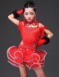 Dança Latina Vestidos Crianças Actuação Viscose 5 Peças Sem Mangas Vestido Luvas Neckwear Calções