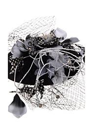 Penas Linho Rede Capacete-Casamento Ocasião Especial Fascinador Véus de Rede