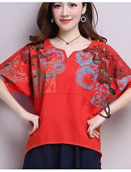 Tee-shirt Femme,Imprimé Sortie Vintage Manches Courtes Asymétrique Coton