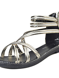 Damen Sandalen Sommer Komfort PU Outdoor Silber schwarz Gold