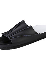 Men's Slippers & Flip-Flops Spring Summer Comfort Leather Outdoor Casual Athletic Flat Heel Ruffles White Black