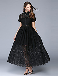 Summer Women's Dresses Casual/Daily Party Lace Dress Solid Shirt Collar Short Sleeve Maxi Dress
