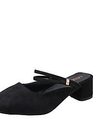 Women's Slippers & Flip-Flops Summer T-Strap Fleece Outdoor Dress Casual Chunky Heel Buckle Burgundy Black Walking