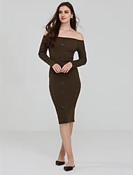Women's Off The Shoulder Ribbed Knit Off Shoulder Dress