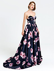 Formal Evening Dress - Pattern Dress A-line Sweetheart Court Train Satin with Pleats