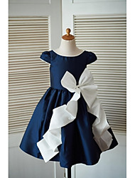 A-line Knee-length Flower Girl Dress - Taffeta Scoop with Bow(s)