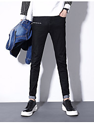 Men's Mid Rise High Elasticity Jeans Pants,Simple Skinny Solid