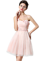 A-Line One Shoulder Short / Mini Tulle Cocktail Party Homecoming Dress with Crystal Detailing Flower(s)