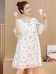 Maternity Summer Wear Fashionable Sweet  Lactation Out Printed Chiffon With Short Sleeves  Leisure Pregnant Women Dress