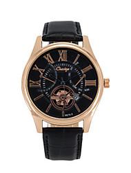 Men's Skeleton Watch Fashion Watch Chinese Quartz Leather Band Black